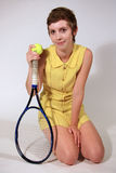Tennis Player, Retro Style Girl Stock Image
