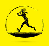 Tennis player running , Woman play tennis. Graphic vector Royalty Free Stock Images