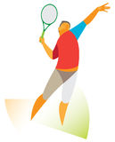 Tennis player serves the ball Royalty Free Stock Images