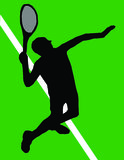 Tennis player serving. On grass Royalty Free Stock Images