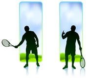 Tennis Player set with Nature Frame Background Stock Photography