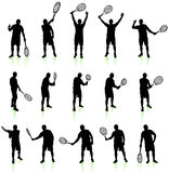 Tennis Player Silhouette Collection Stock Images
