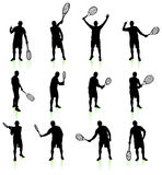 Tennis Player Silhouette Collection Stock Photos