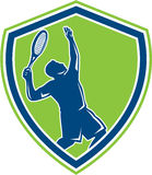 Tennis Player Silhouette Serving Shield Retro Royalty Free Stock Photography