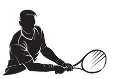 Tennis-player, silhouette Royalty Free Stock Photo