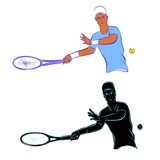Tennis player silhouette Stock Photography