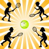 Tennis Player Silhouettes Royalty Free Stock Image