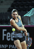 Tennis player Simona Halep training before a match. CLUJ-NAPOCA, ROMANIA - APRIL 15, 2016: Romanian tennis player Simona Halep (WTA ranking 6) plays during the royalty free stock photos