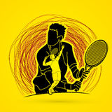 Tennis player sports man. Double exposure, Tennis player sports man graphic vector Royalty Free Stock Image