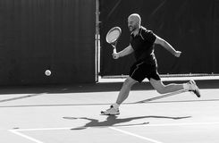Tennis player. Striving in a match Royalty Free Stock Photography
