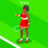 Tennis Player Summer Games Icon Set.3D Isometric Tennis Player.Sporting Championship International Tennis Competition Stock Image