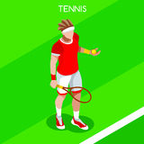 Tennis Player Summer Games Icon Set.3D Isometric Tennis Player.Sporting Championship International Tennis Competition Royalty Free Stock Image