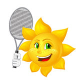 Tennis player sun with racket Stock Image