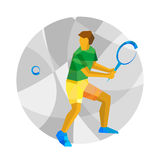 Tennis  player swinging racket on mosaic background. Royalty Free Stock Photo