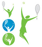 Tennis player symbols Royalty Free Stock Images