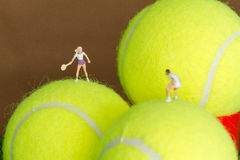 Tennis player on a tennis ball. Royalty Free Stock Photos