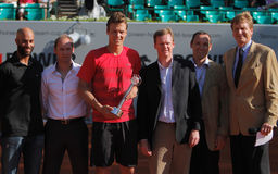 Tennis Player Tomas Berdych. 2012 World Team Cup. This photo shows Czech player Tomas Berdych receiving the Fairplay Trophy after his singles match with Carlos Royalty Free Stock Photo