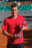 Tennis Player Tomas Berdych. 2012 World Team Cup. This photo shows Czech player Tomas Berdych displaying his Fairplay Trophy. Berdych once again won his game Stock Photo