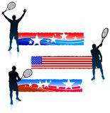Tennis Player and United States Banner Set Royalty Free Stock Photo