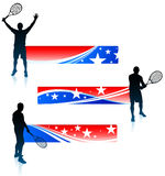 Tennis Player and United States Banner Set Stock Photo
