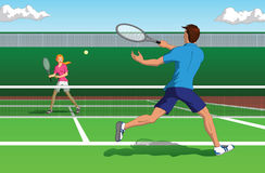 Tennis player. Vector illustration of an active man and woman playing tennis on a court Royalty Free Stock Images
