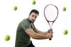 Tennis player vs balls. Stock Images