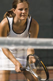 Tennis Player Waiting For Serve Royalty Free Stock Photography