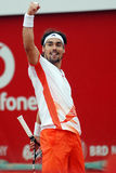 Tennis player win reaction. Fabio Fognini pictured at the end of the match against Marcos Baghdatis counting for BRD Nastase-Tiriac Trophy Stock Images