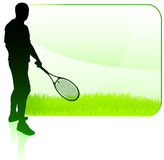 Tennis Player With Blank Nature Frame Royalty Free Stock Photography