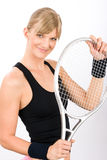 Tennis player woman young smiling hold racket Stock Image
