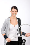 Tennis player woman young smiling hold racket Stock Photos