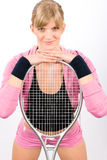 Tennis player woman young smiling leaning racket Stock Images