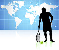 Tennis Player with World Map Background Royalty Free Stock Photo