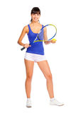 Tennis player young girl. Isolated over white background Royalty Free Stock Photo