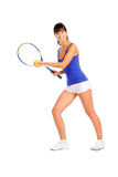 Tennis player young girl. Isolated over white background Royalty Free Stock Photos