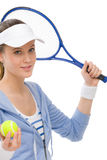 Tennis player - young woman holding racket Royalty Free Stock Image