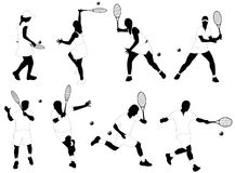 Tennis players. Illustration, black and white Royalty Free Stock Image
