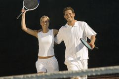 Tennis Players Celebrating Victory Royalty Free Stock Photo