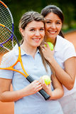 Tennis players at the court Royalty Free Stock Photography