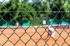 Tennis players on court Royalty Free Stock Photography