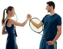 Tennis players greet each other stock photography