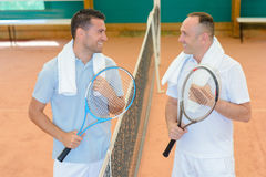 Tennis players having talk. Tennis players having a talk Stock Photo