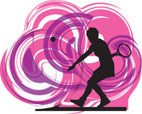 Tennis players illustration. Tennis players illustration with abstract background, made in adobe illustrator Stock Photos