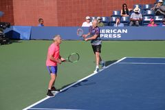McEnroe brothers. Tennis players John and Patrick McEnroe at the 2017 US Open tennis grand slam Royalty Free Stock Photography