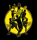 Tennis players , Men and Women action, team group graphic vector. Tennis players , Men and Women action, team group illustration graphic vector Vector Illustration