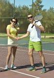 Tennis players near net Royalty Free Stock Image