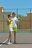 Tennis players near net Stock Photography