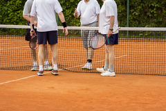 Tennis players shake hands. After the tennis match Royalty Free Stock Images