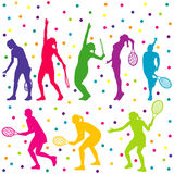 Tennis players silhouette collection Stock Photos