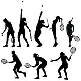 Tennis players silhouettes Stock Images